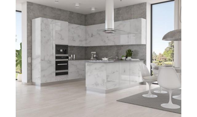 Высокоглянцевые фасады Crystal decor Marmo Bianco